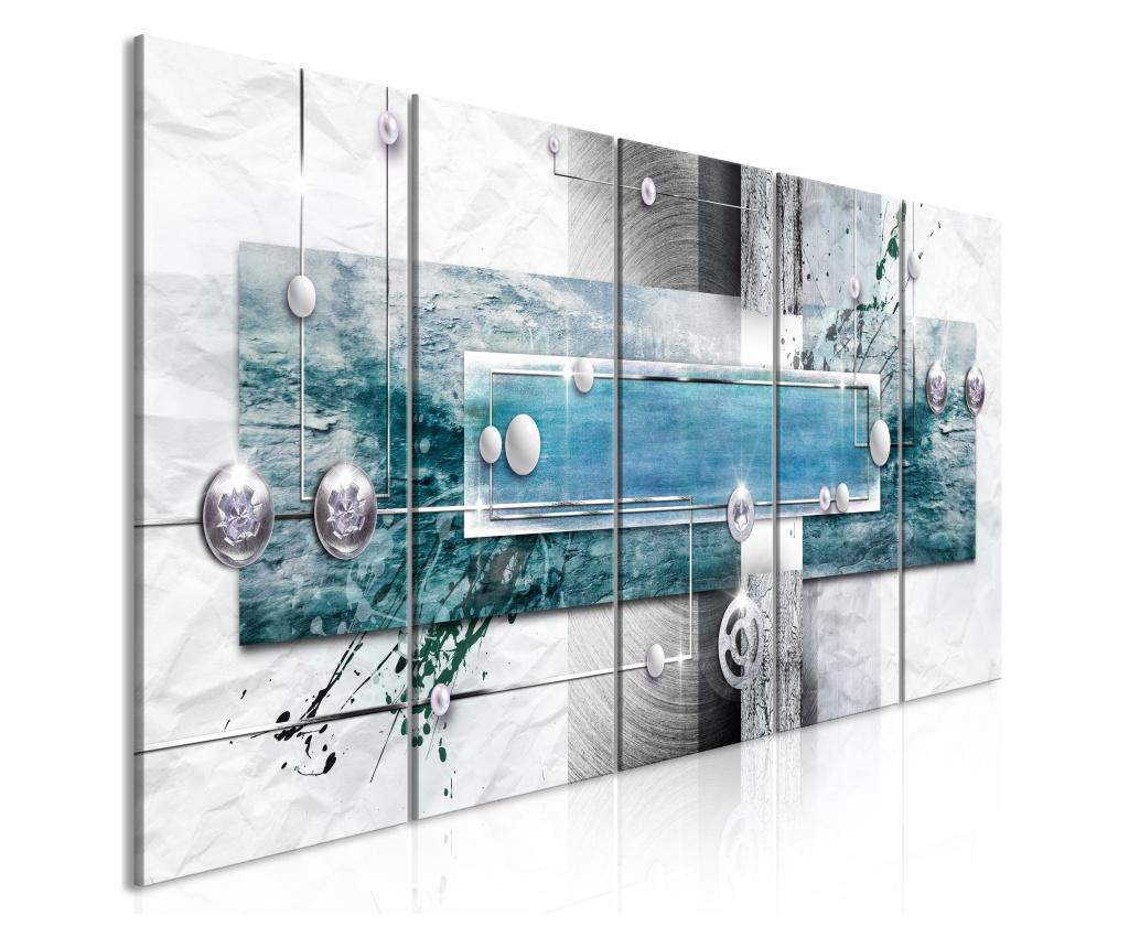 Set 5 tablouri Mysterious Mechanism (5 Parts) Narrow Blue 225x90