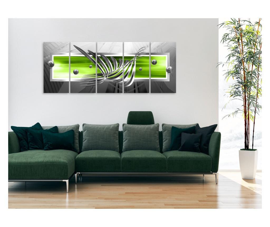 Set 5 tablouri Silver Wings (5 Parts) Narrow Green 200x80