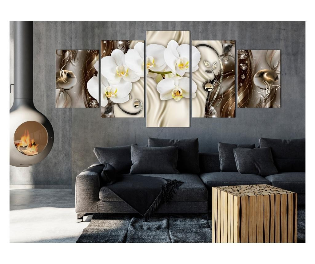 Set 5 tablouri Orchid Waterfall (5 Parts) Wide Brown 225x100