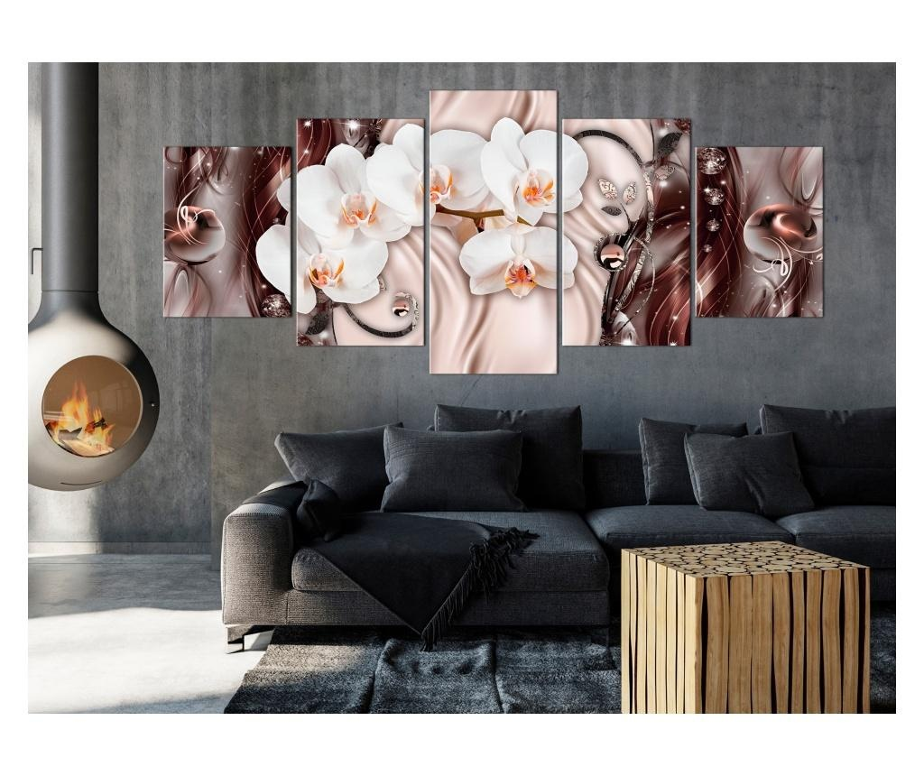 Set 5 tablouri Orchid Waterfall (5 Parts) Wide Pink 225x100