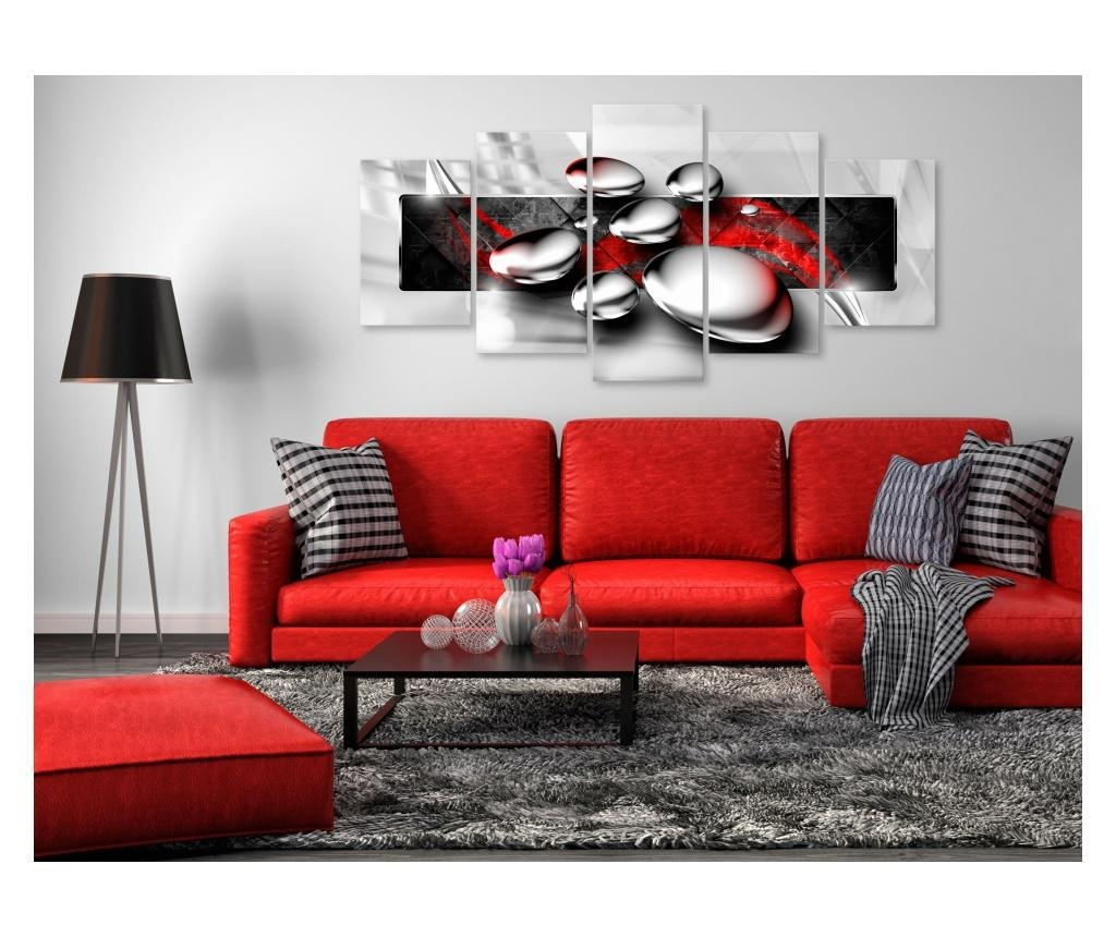 Set 5 tablouri Shiny Stones (5 Parts) Wide Red 100x50