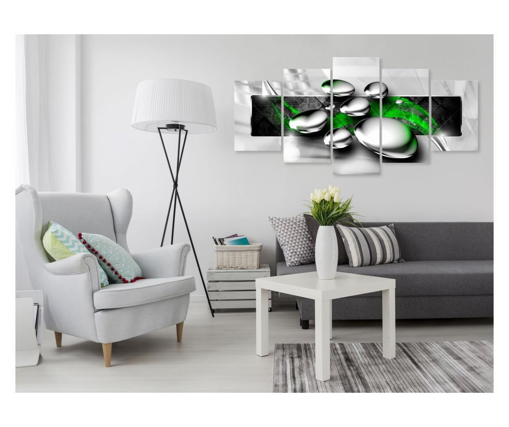 Set 5 tablouri Shiny Stones (5 Parts) Wide Green 200x100