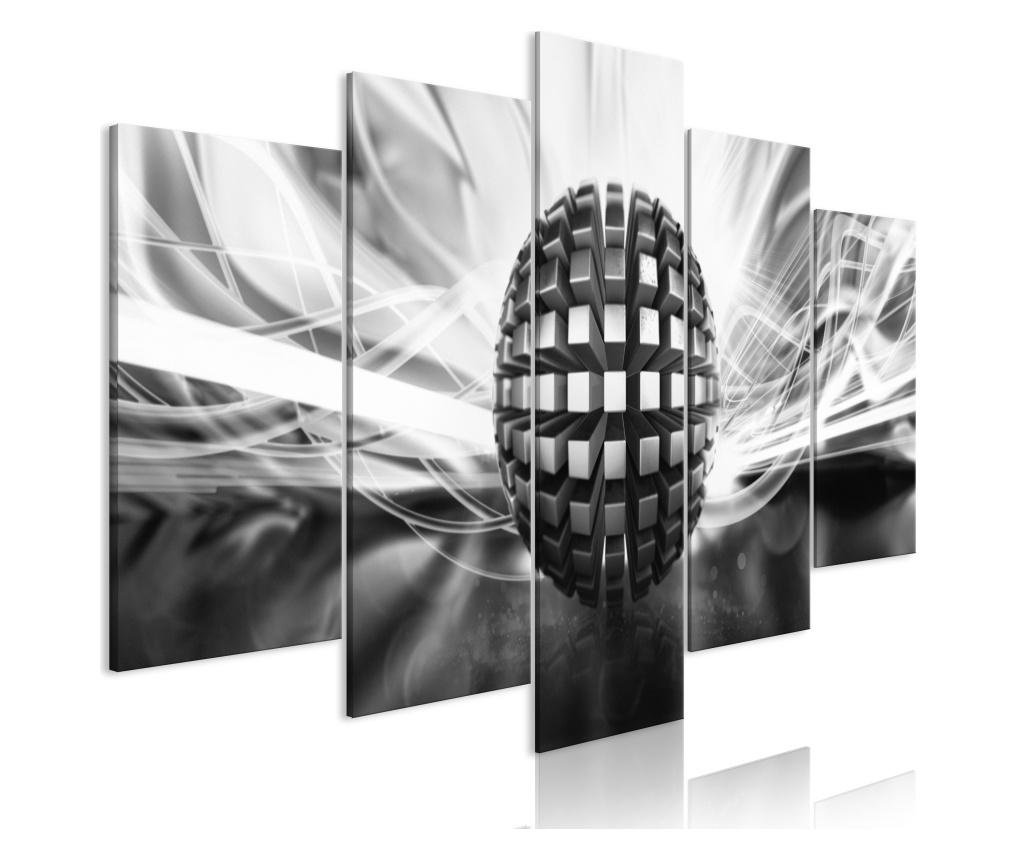 Set 5 tablouri Metal Ball (5 Parts) Wide Black and White 100x50