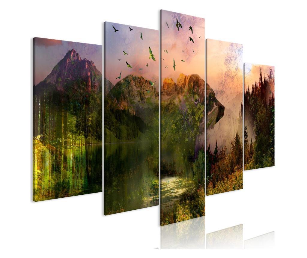 Set 5 tablouri Bear in the Mountain (5 Parts) Wide 200x100