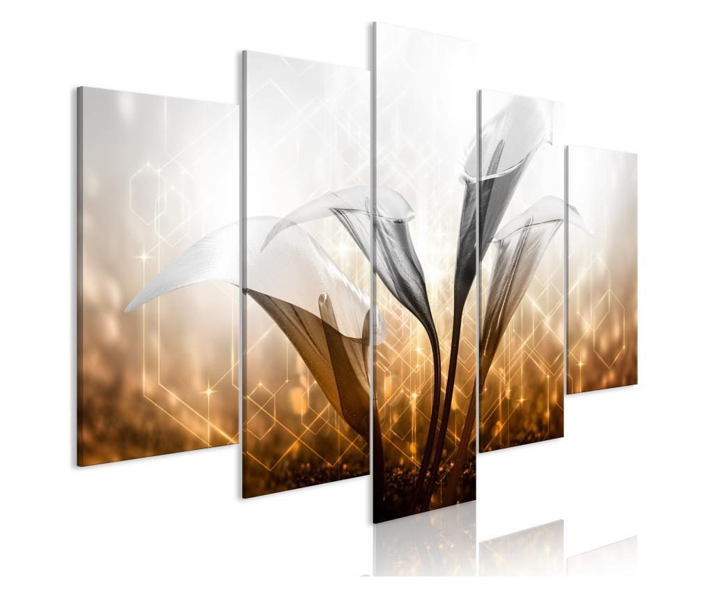 Set 5 tablouri Floral Quartet (5 Parts) Wide Golden 100x50