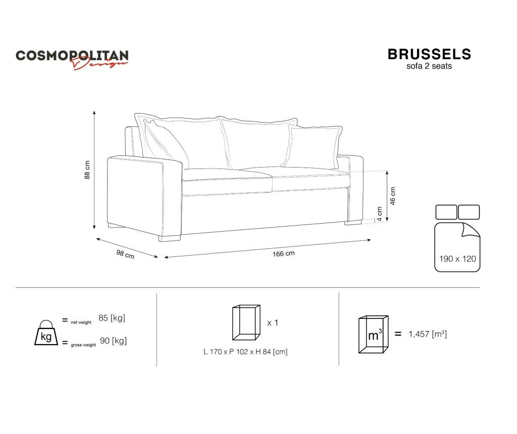 Canapea extensibila 2 locuri Brussels Bottle Green