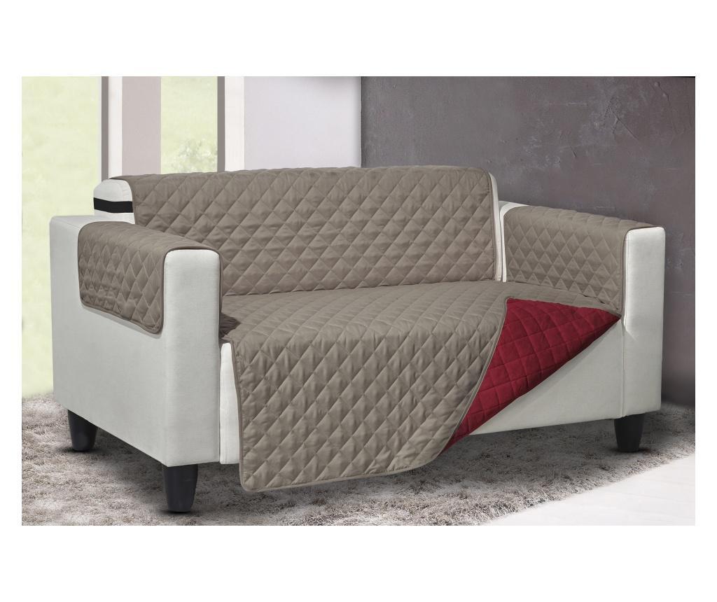 Pokrowiec na fotel Queen Reverse Bordeaux-Tortora 219x68 cm