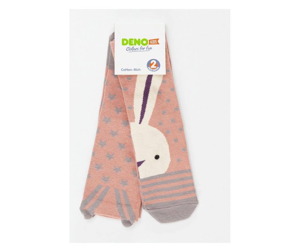 Set 2 perechi de sosete copii Bunny&Stars 4-5 years