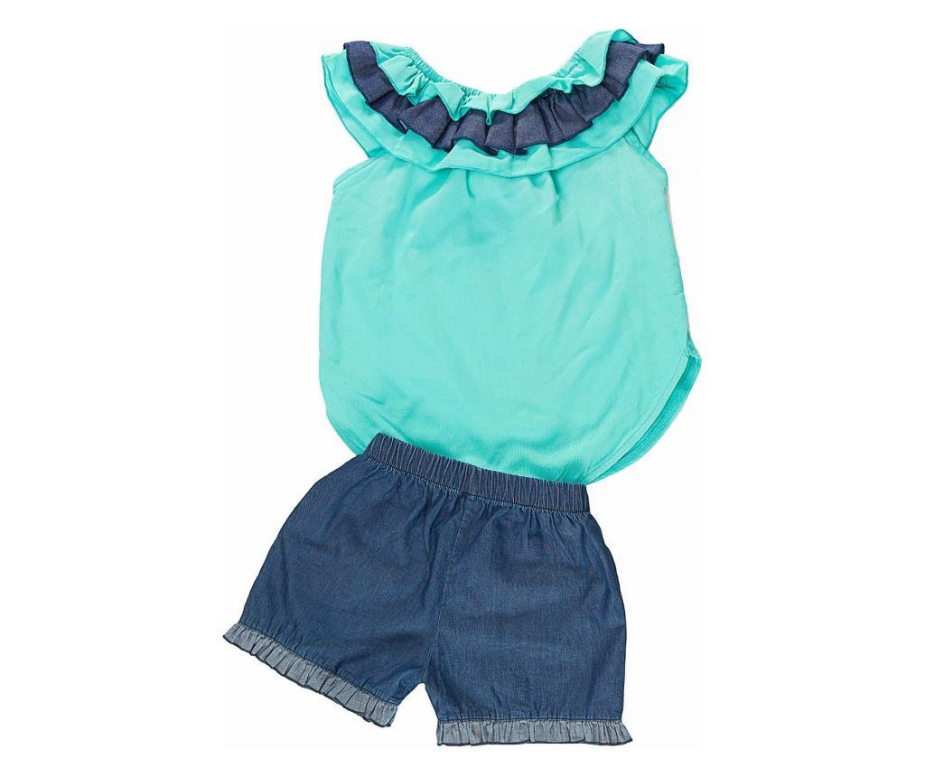 Set tricou fara maneci si pantaloni scurti pentru copii Turqouise Ruffled Denim 2 years