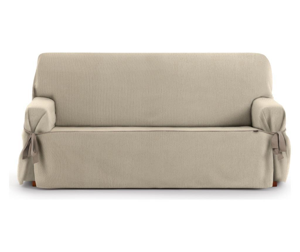 Regulowany pokrowiec na kanapę 3-osobową Chenille Ties Beige 180-230 cm