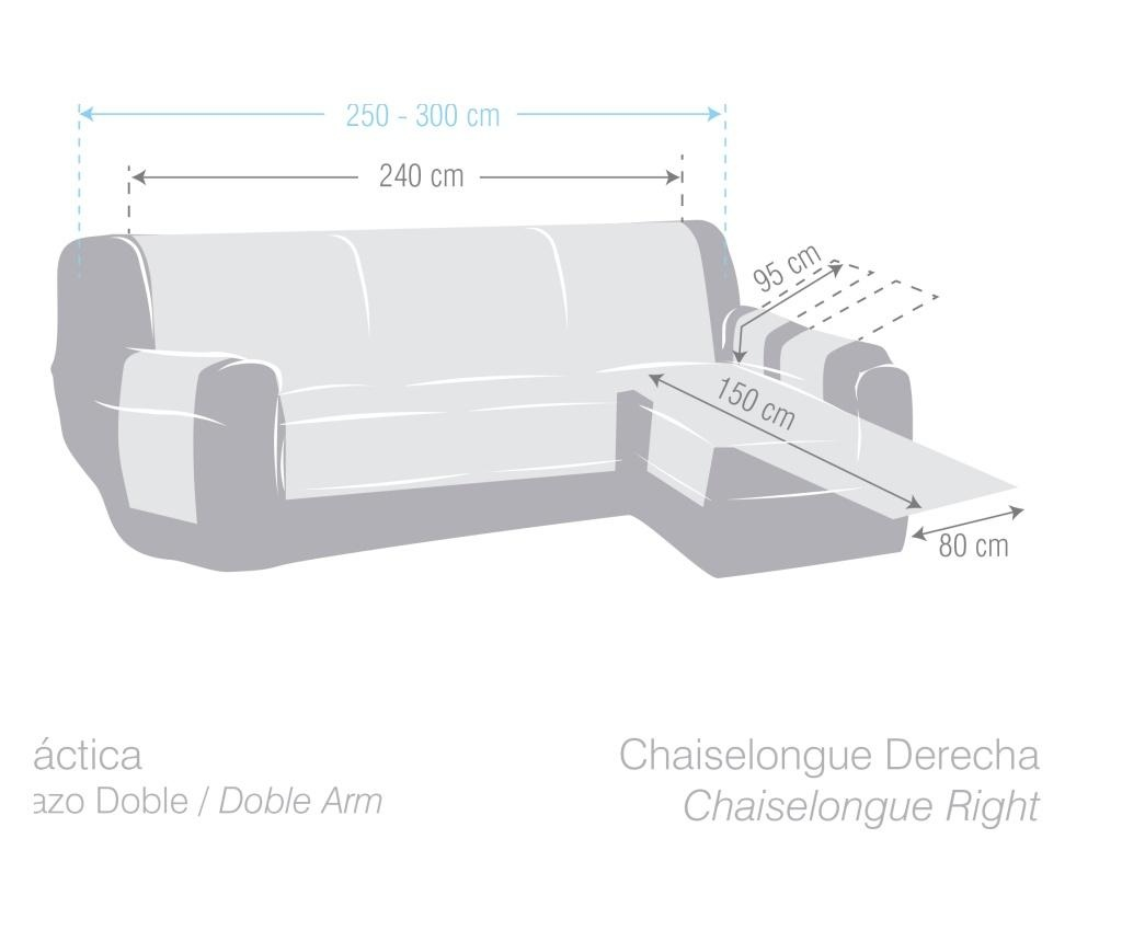 Pokrowiec na szezlong prawostronny Chenille Cream 240x95x150 cm