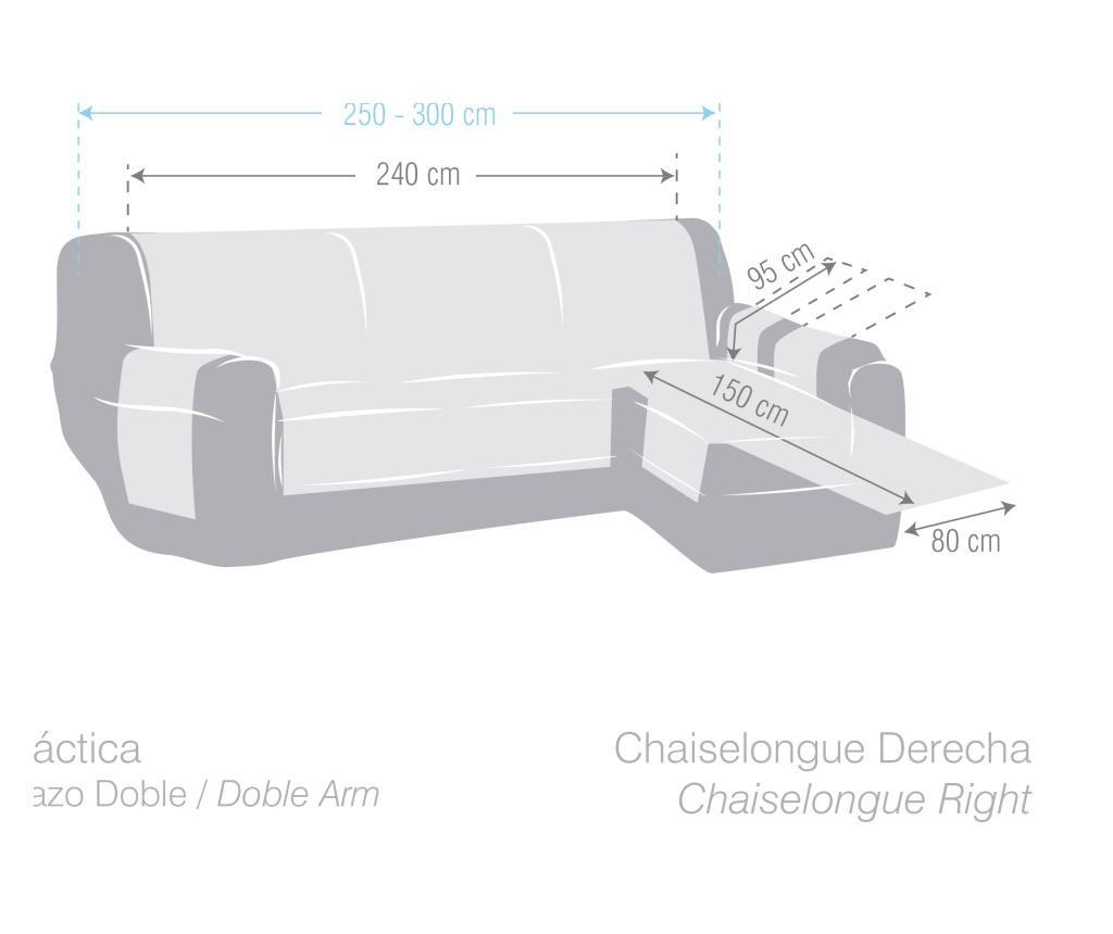 Potah na lehátko do obýváku pravostranné Chenille Grey 250-300 cm