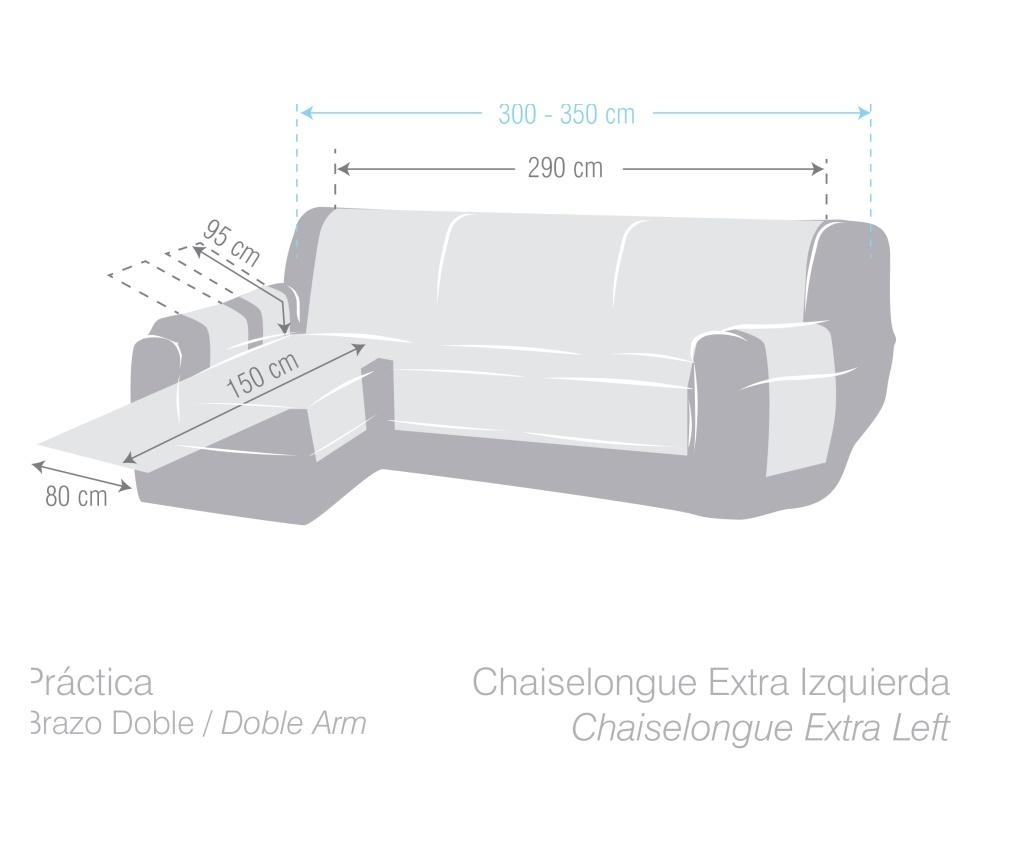 Navlaka za lijevu  ležaljku za dnevni boravak Chenille Cream 290x95x150 cm