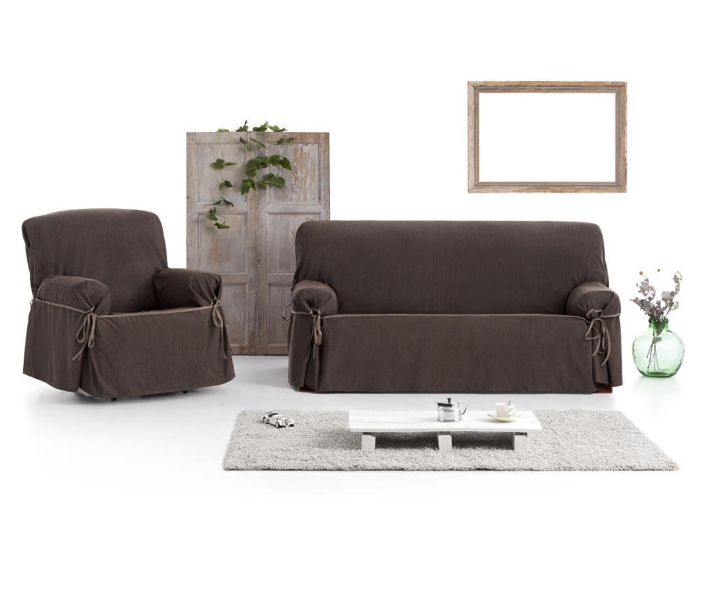 Regulowany pokrowiec na kanapę 2-osobową Chenille Ties Brown 180x45x50 cm