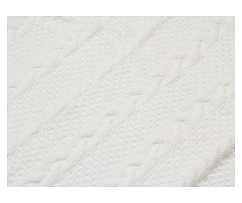 Pled Gliss Knitted White 125x150 cm