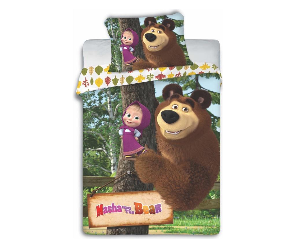 Lenjerie de pat Single Masha and the Bear