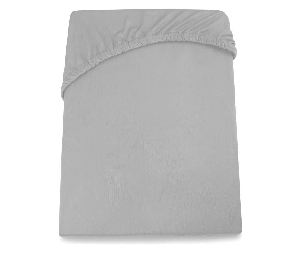 Cearsaf de pat cu elastic Amelia Silver 80x200 cm