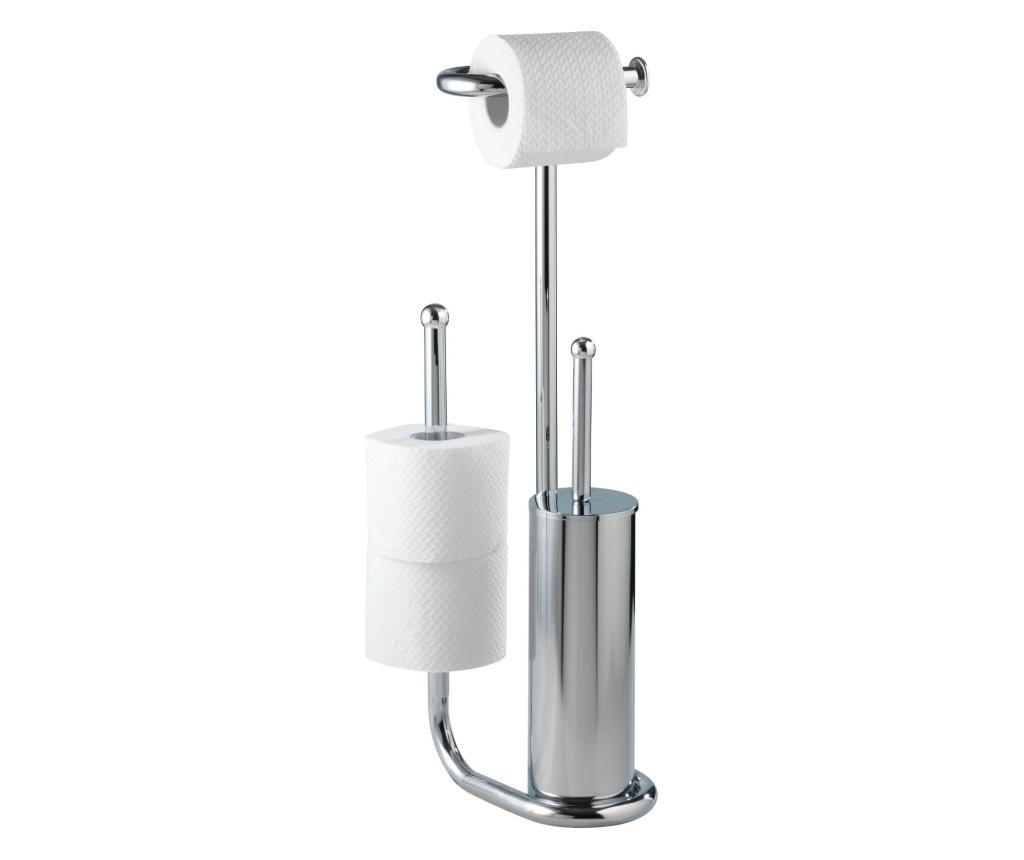 Suport pentru hartie igienica cu perie de toaleta Wenko White