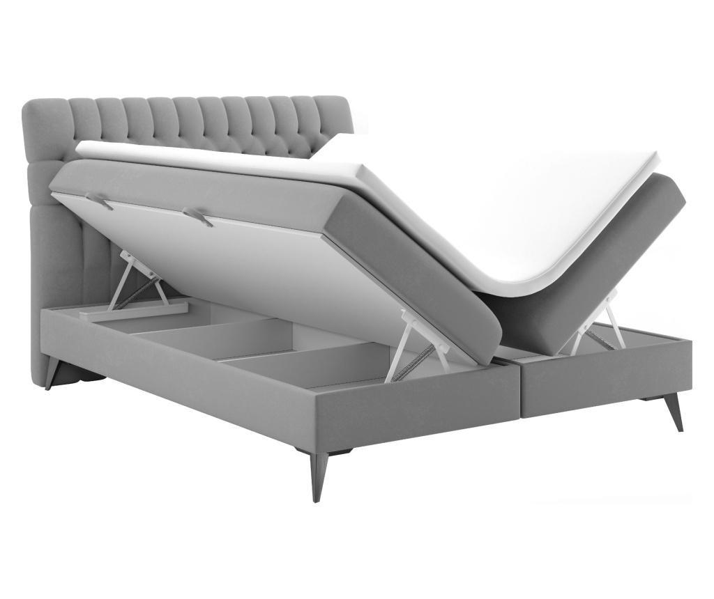 Łóżko z materacem i wezgłowiem Madison Grey 180x200 cm