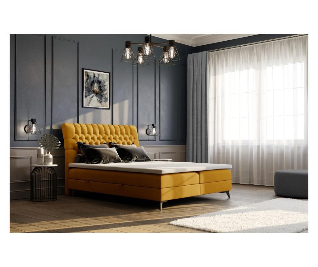 Łóżko z materacem i wezgłowiem Madison Mustard Yellow 180x200 cm