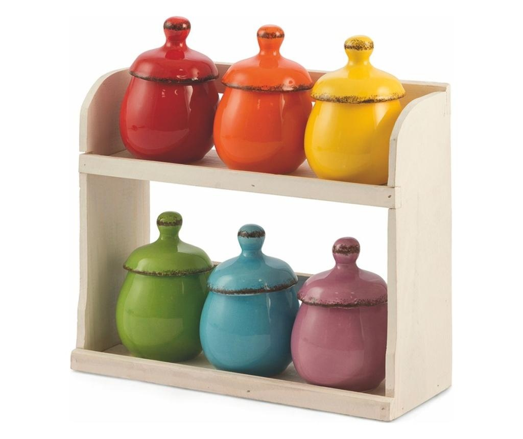 Set 6 recipiente cu suport Baita Multicolor