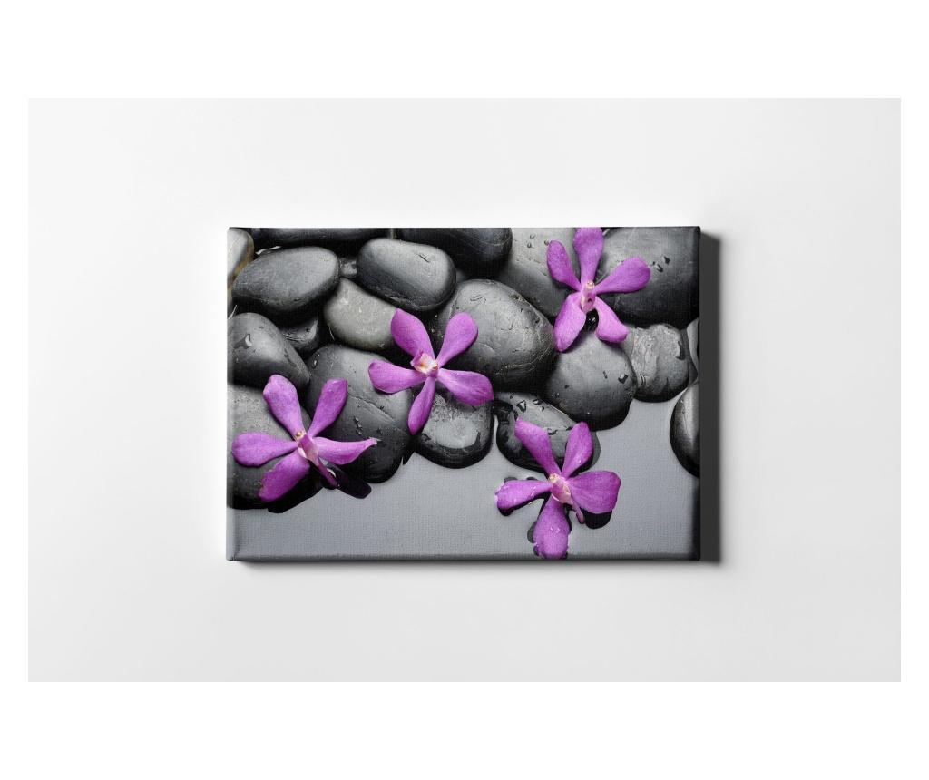 Tablou Purple Flowers And Stones 40x60 cm