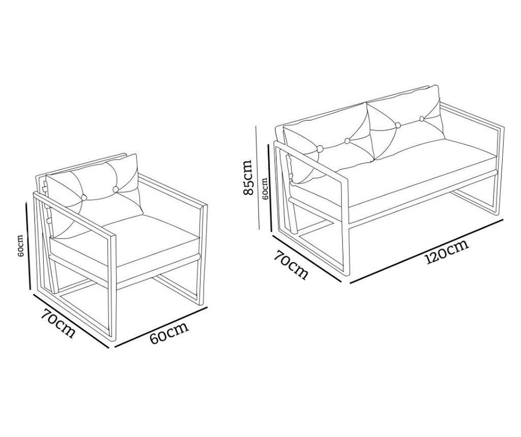Set mobilier pentru exterior 3 piese Irmak Brown