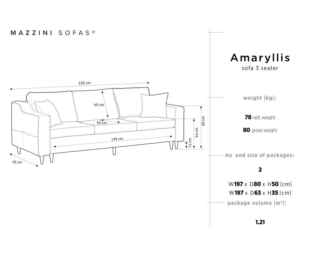 Canapea extensibila 3 locuri Amaryllis Grey