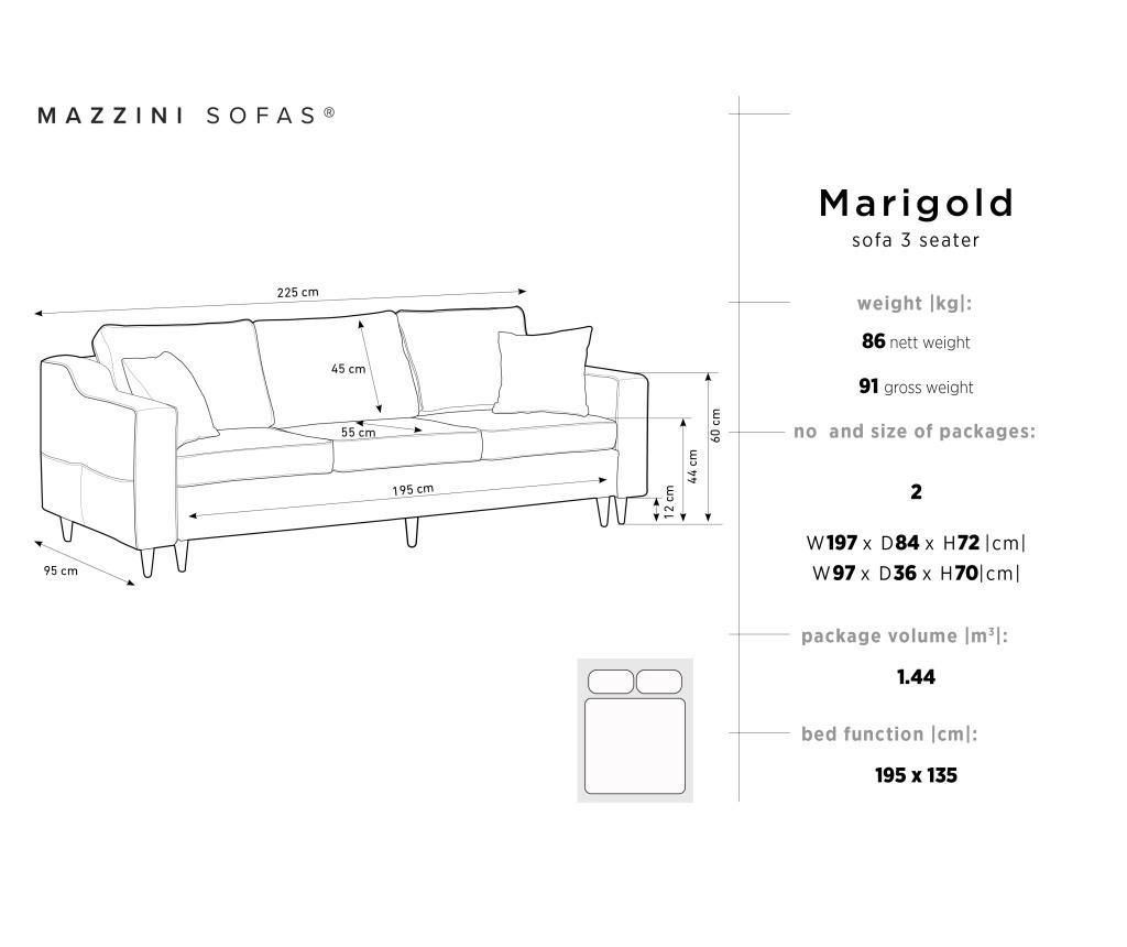 Canapea extensibila cu 3 locuri Marigold Dark Grey