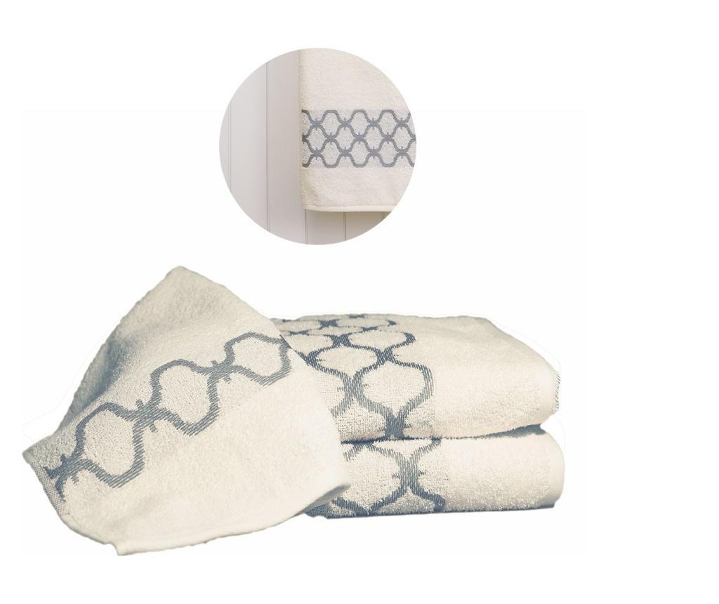 Set 3 prosoape de baie Tangier Cream & Grey