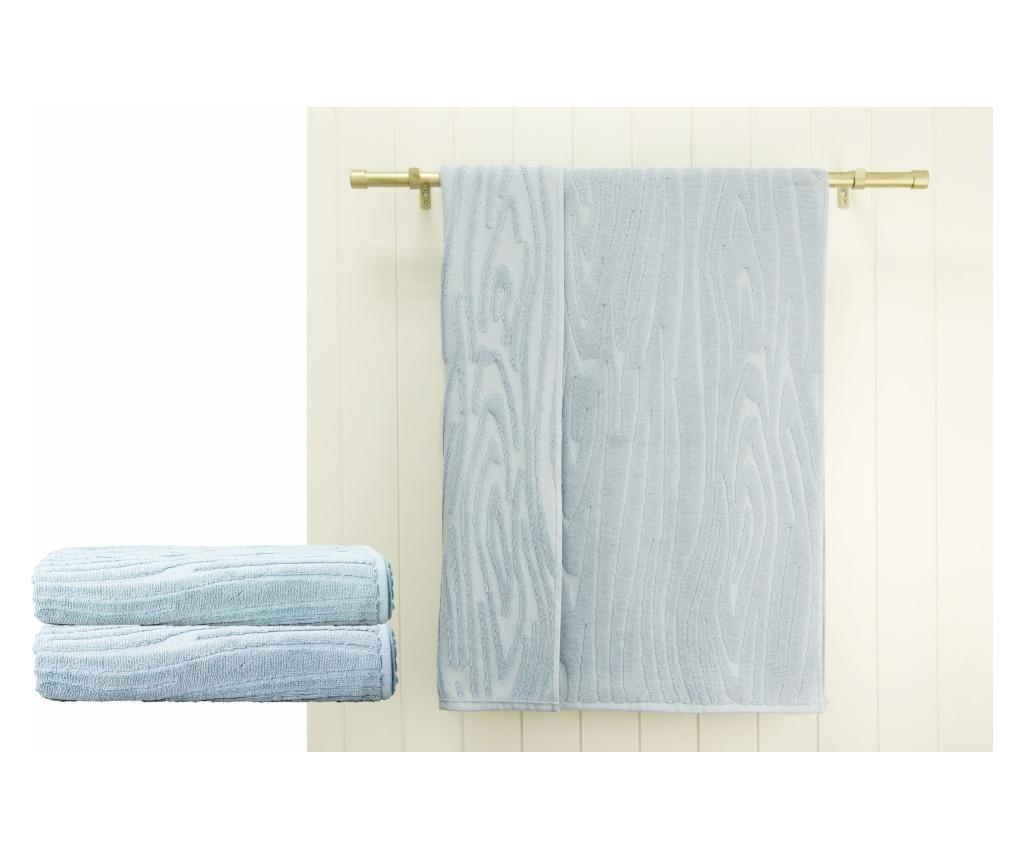 Set 2 prosoape de baie Wood Blue 48x90 cm