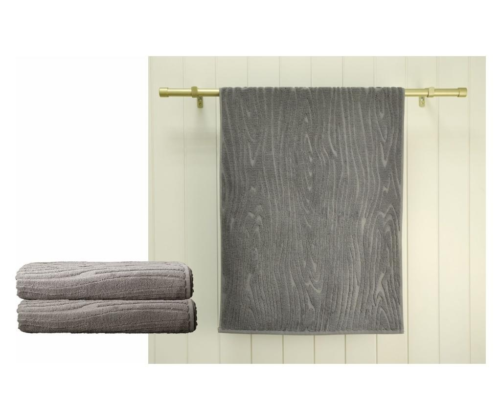 Set 2 prosoape de baie Wood Grey 48x90 cm