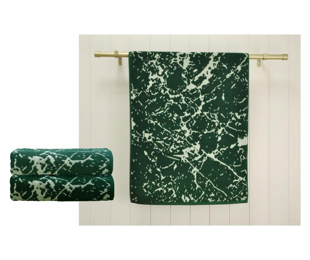 Set 2 prosoape de baie Marble Green 48x90 cm