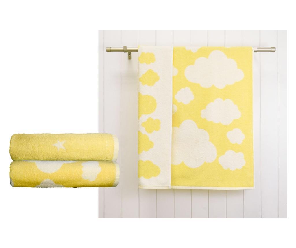 Zestaw 2 ręczników kąpielowych Clouds Stars Yellow 70x120 cm
