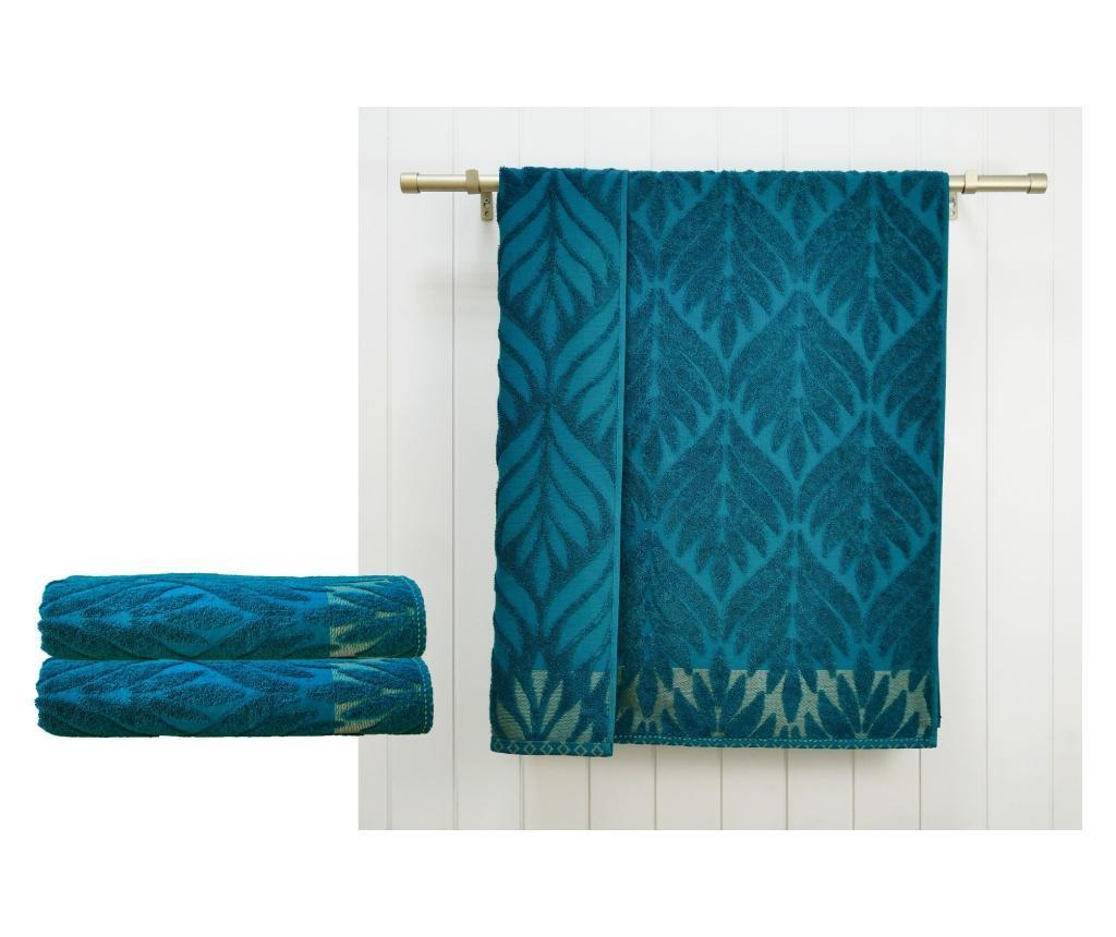 Zestaw 2 ręczników kąpielowych Flora Marine Green 48x90 cm