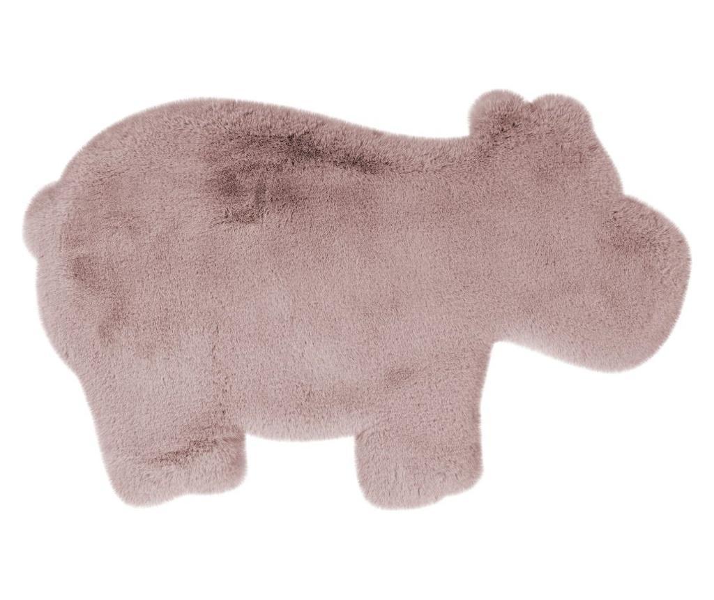 Tepih Fluffy Kids Hippo Rosa 55x90 cm