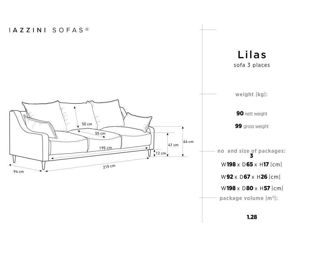 Lilas Pink Kihúzható háromszemélyes kanapé