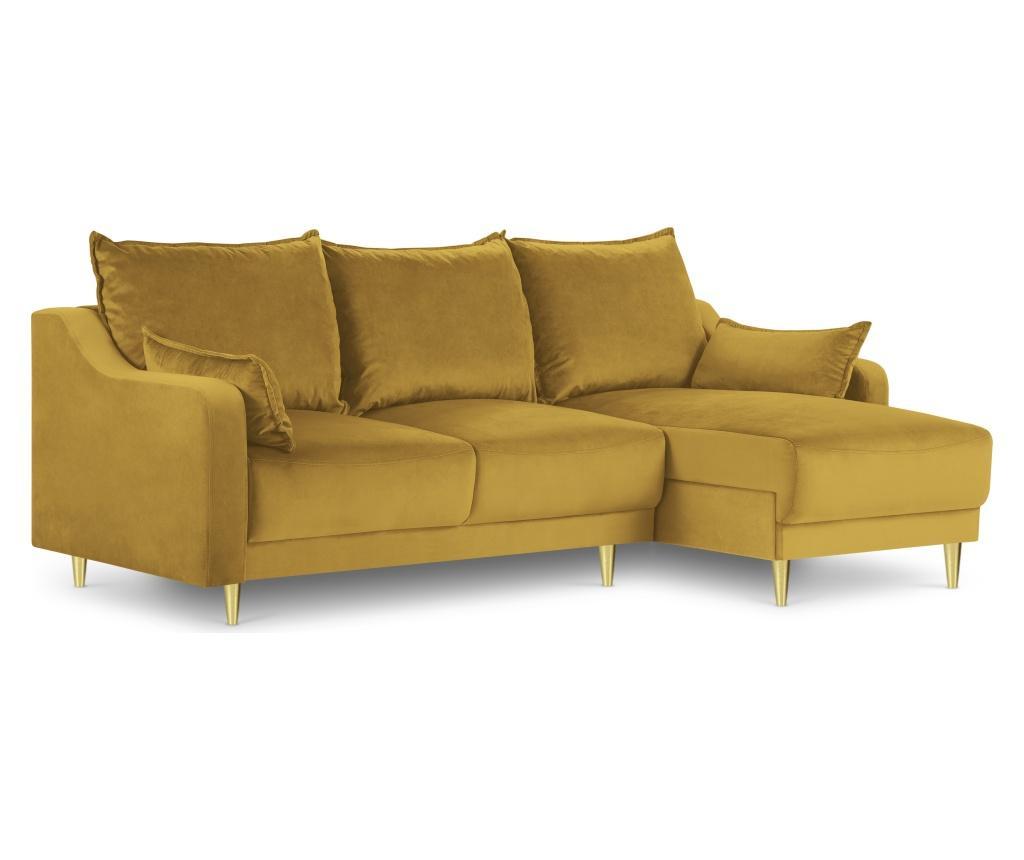 Raztegljiva reverzibilna kotna sedežna garnitura Pansy Yellow