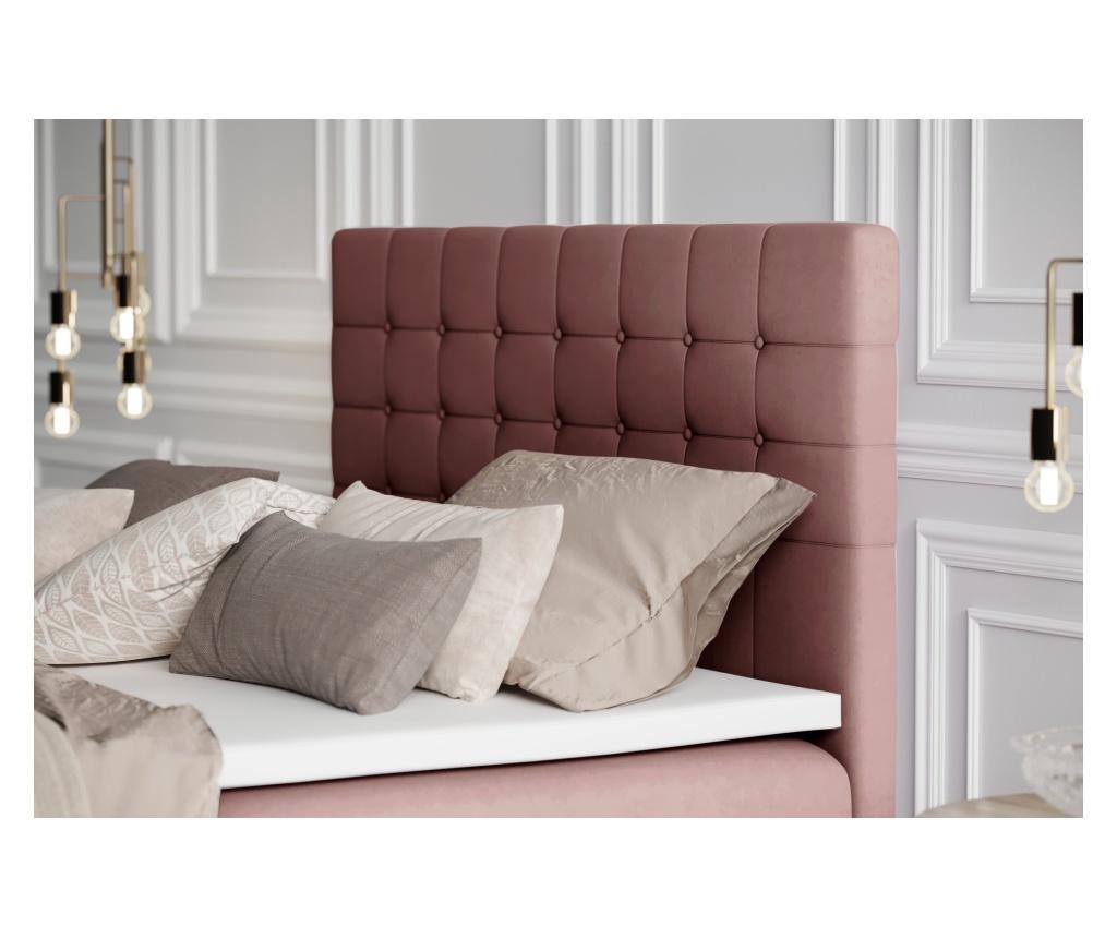 Łóżko kontynentalne ze schowkiem Sansa Pink Silver 140x200 cm