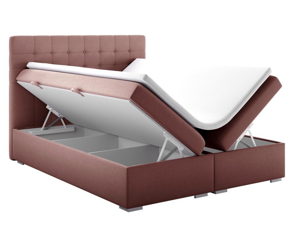 Pat boxspring cu spatiu pentru depozitare Sansa Pink Silver 140x200 cm