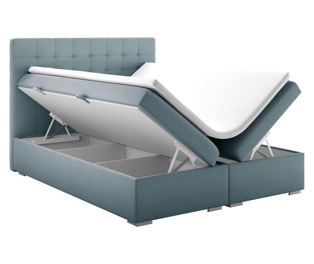 Boxspring postelja s prostorom za shranjevanje Sansa Blue Silver 160x200 cm