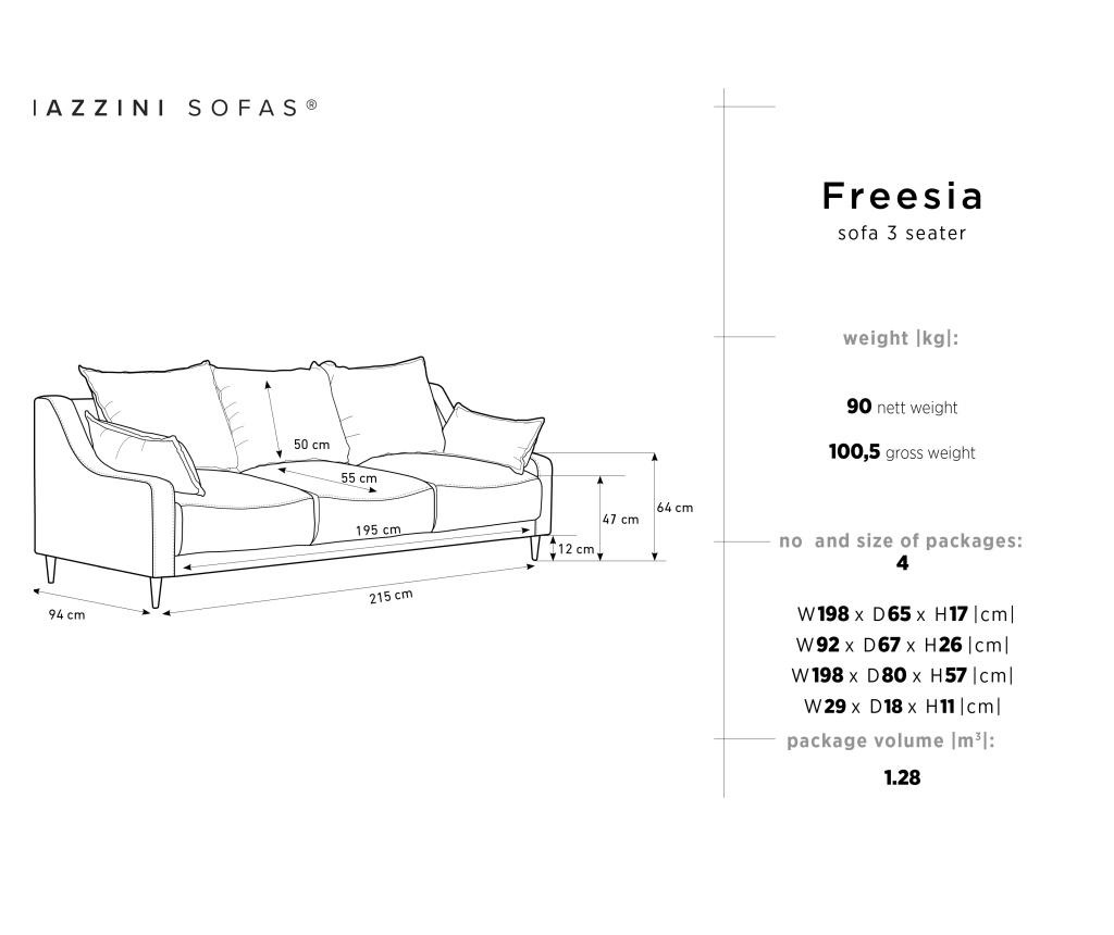 Rozkládací 3 místná pohovka Freesia Grey