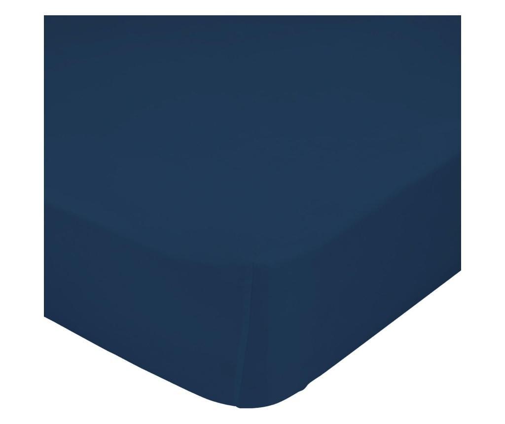 Cearsaf de pat cu elastic Basic Navy 140x200 cm
