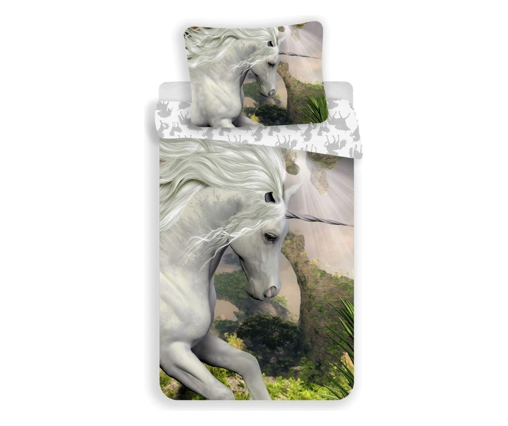 Set de pat Single Ranforce Unicorn White