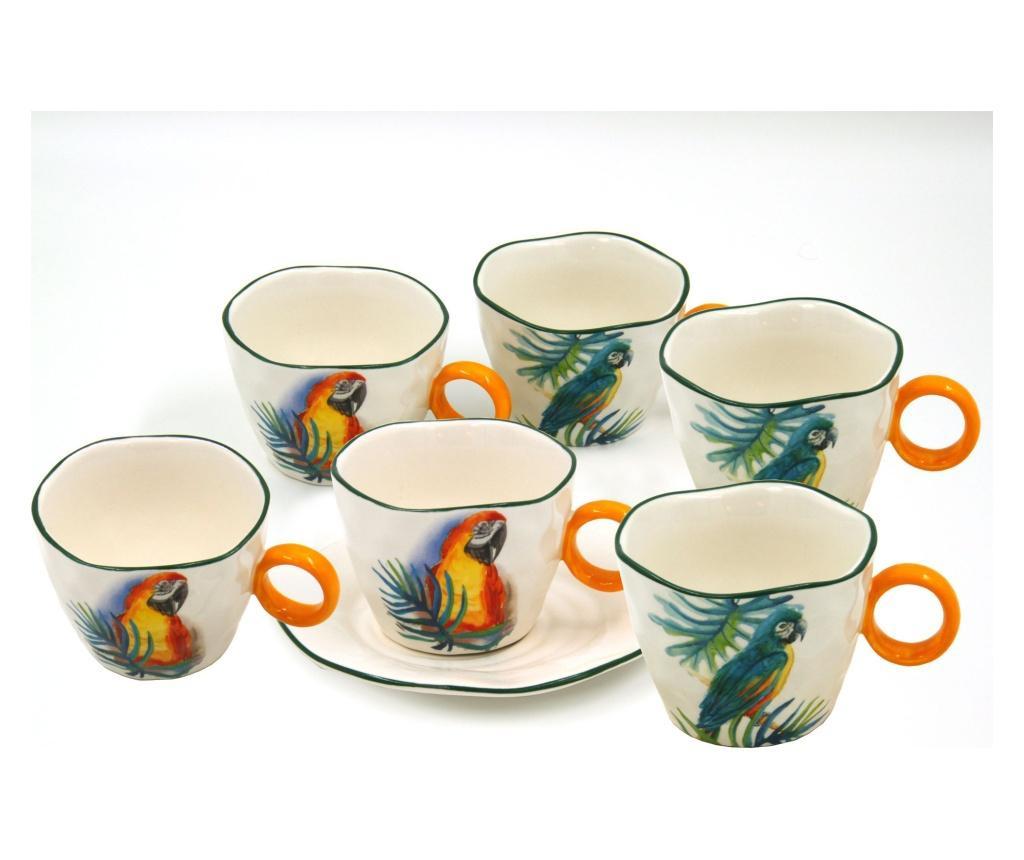 Set 6 cesti si 6 farfurioare Jungle parrots