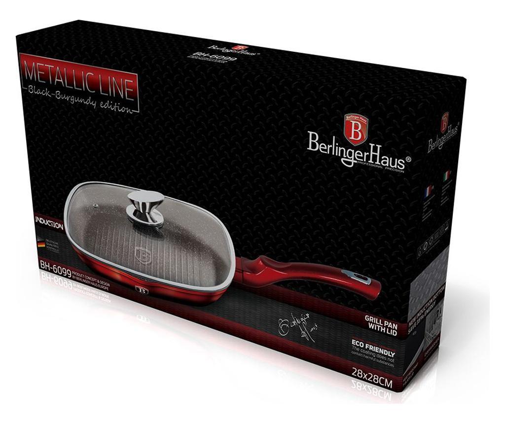 Tigaie grill cu capac Metallic Line- Black-Burgundy