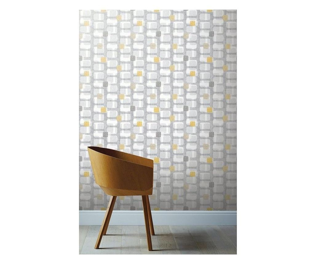 Tapet Retro Block Ochre and Grey 53x1005 cm