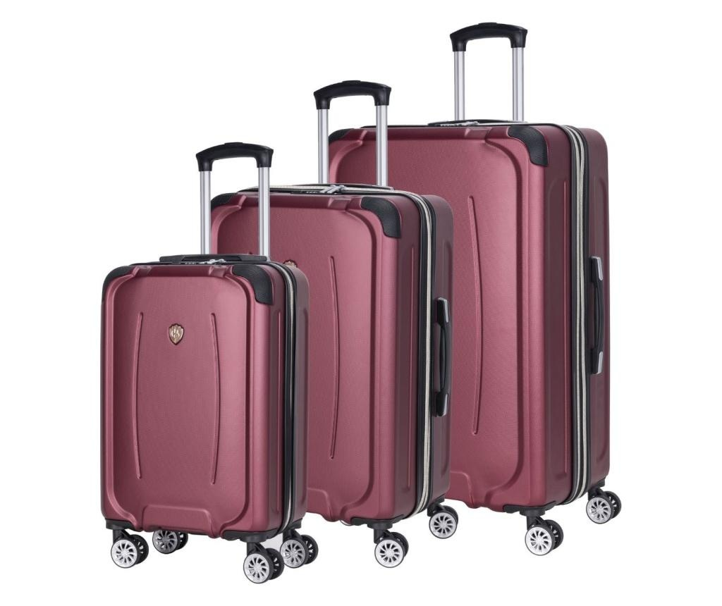 Sada 3 kolieskových kufrov Memphis Red