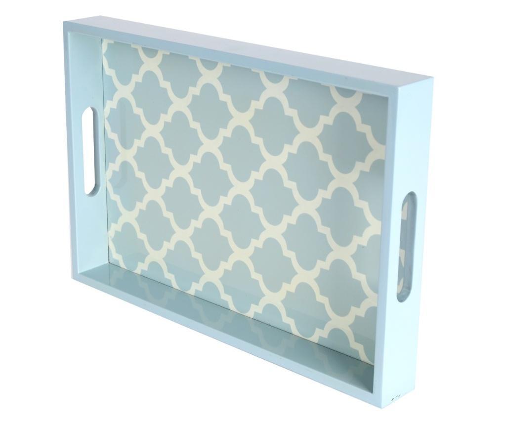 Tava servire, PTMD Collection, lemn, bleu/crem, 38x26x4.5 cm