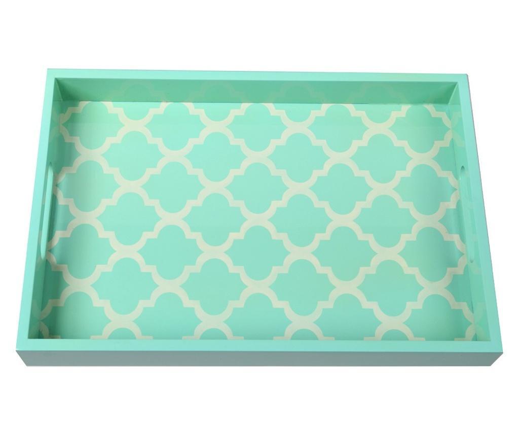 Tava servire, PTMD Collection, lemn, verde/crem, 38x26x4.5 cm